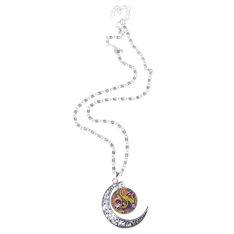 apariencia elegante llega pulcro Detalles de 5X(Joyeria Collar Cadena Colgante Media Luna de arbol Vida  Novedad Cabochon MD7)