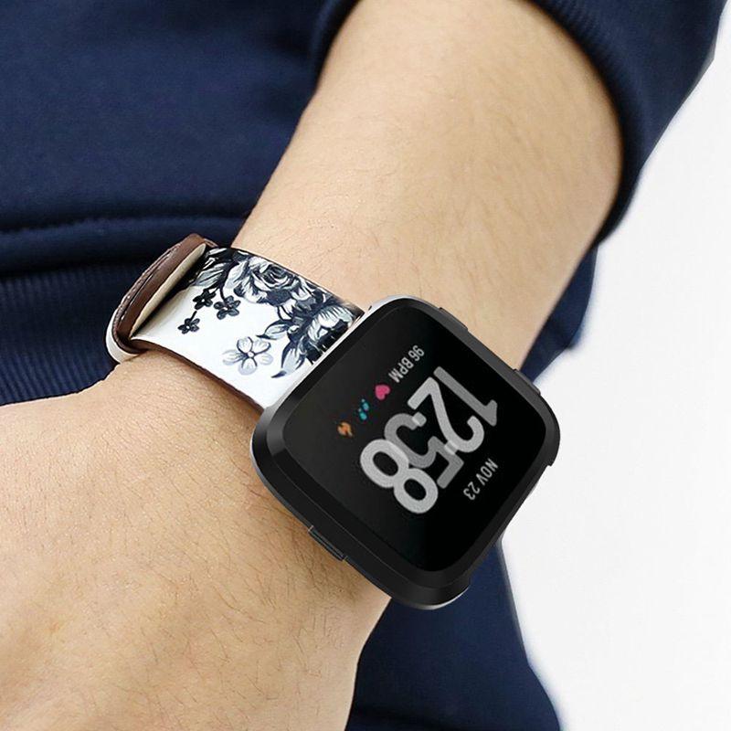 Pour montre de Fitbit Versa Bande de remplacement Bracelet en cuir veritabl L4Y7
