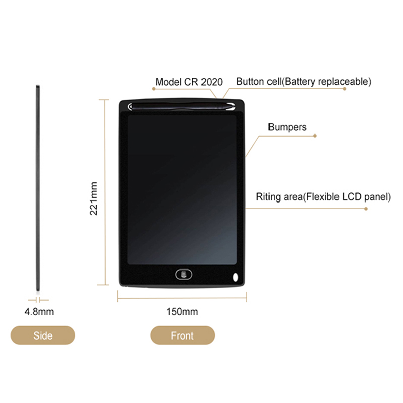 2X-A8-5-pouce-Panneau-d-039-ecriture-LCD-Tablette-d-039-ecriture-LCD-sans-papier-De-J6A9 miniature 5