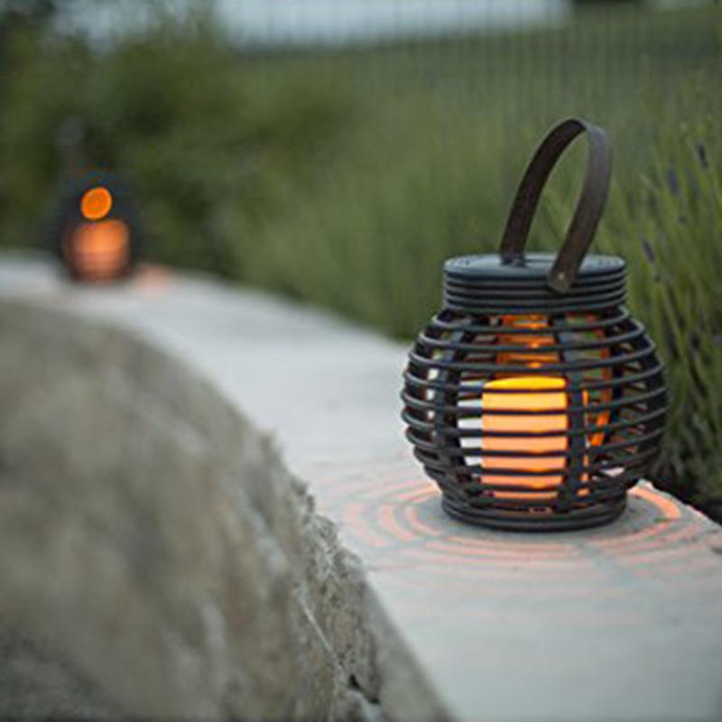 Solar LED Leuchte Rattanleuchte 2er Set Solarleuchte Tischleuchte 15.5 x 15 C1O0