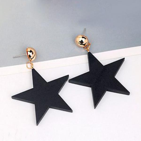 13cf68490a51 5X(Estrella de madera de estilo simple Pendientes grandes Joyas negras para  O9M6
