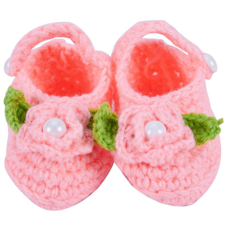 Baby-Infant-Newborn-Soft-Warm-Handmade-Wool-Knit-Flowers-Shoes-Orange-L3A3