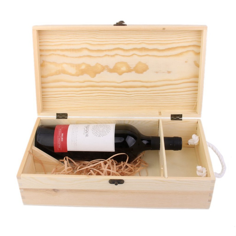 3X(Double Carrier Wooden Box for Wine Bottle Gift Decoration Q8N5)