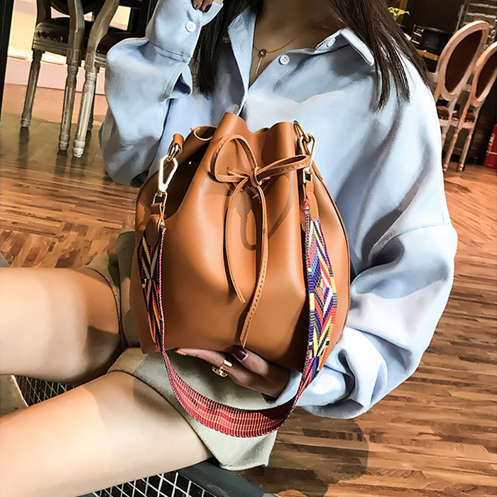17dee3c37585 Women bag with Colorful Strap Bucket Bag Women PU Leather Shoulder ...