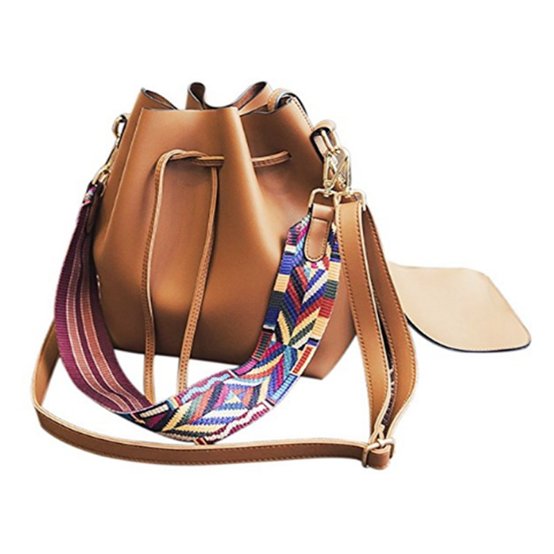 5c56b01ca259 Women bag with Colorful Strap Bucket Bag Women PU Leather Shoulder Bags Des  G1N8