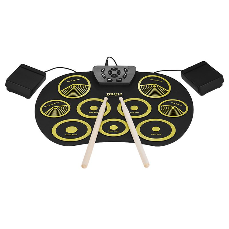 portable electronics drum set roll up drum kit 9 silicone pads usb powered d0q4 192948106507 ebay. Black Bedroom Furniture Sets. Home Design Ideas