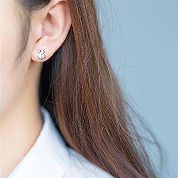 2d5595da7ae Ear Stud Men Women Silver Alloy Stud Earrings Bee Shape Jewelry ...