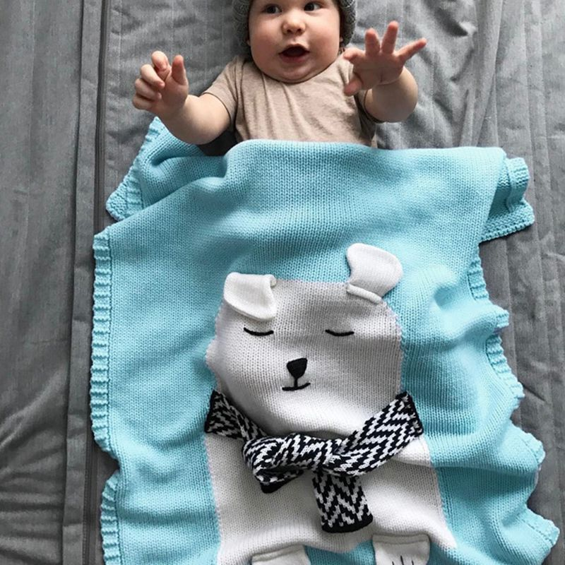 0a5456818 Manta de bebeManta patron animales oso blanco Toalla bano lana suave ...
