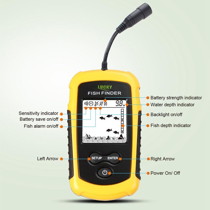 FF1108-1 /& FF1108-1CT Tragbare Fisch Finder Tiefe Sonar Sounder Alarm Wasse N5W1