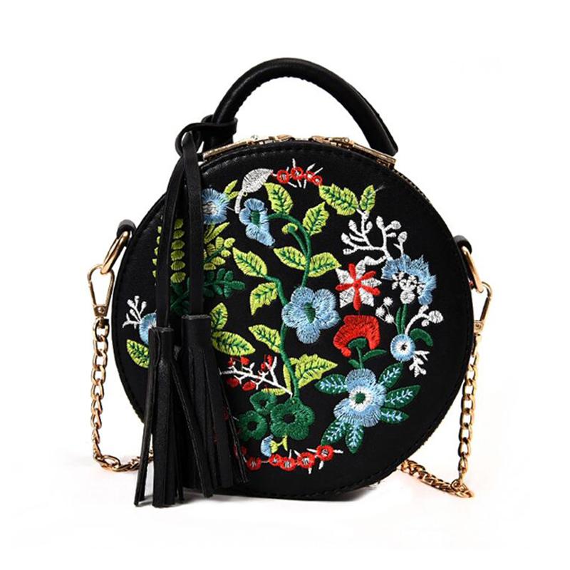 c97d679467699 Das Bild wird geladen Frauen-Retro-Stickerei-Blumen-Handtasche-PU-Leder- Quaste-