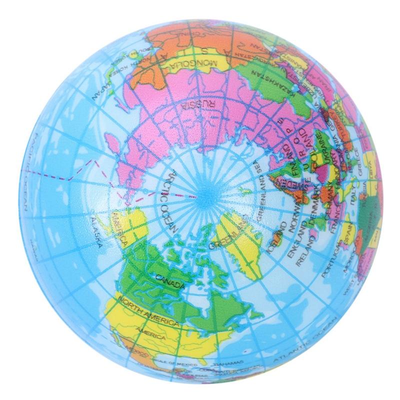 Mini Globe terrestre balle mousse anti-stress boule T7T1