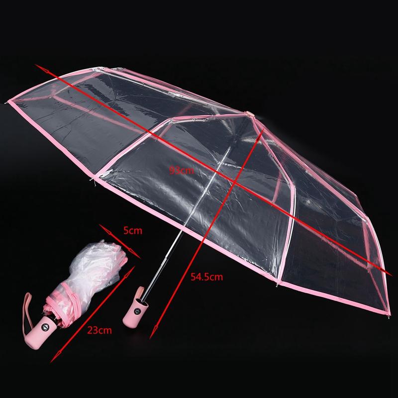Transparenter-Regenschirm-automatischer-Regenschirm-Regen-Frauen-Maenner-Su-J7A9 Indexbild 3