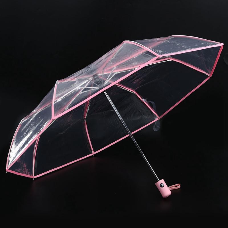 Transparenter-Regenschirm-automatischer-Regenschirm-Regen-Frauen-Maenner-Su-J7A9 Indexbild 7