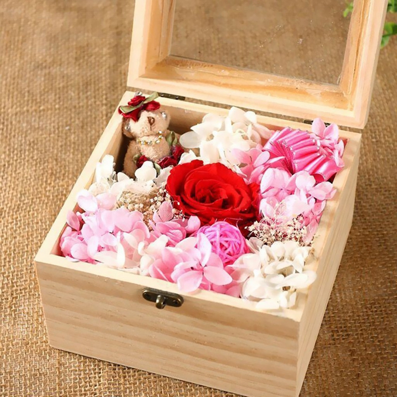 Natural Dry Flower Gift Box Diy Wooden Rectangular Gift Box In Glass