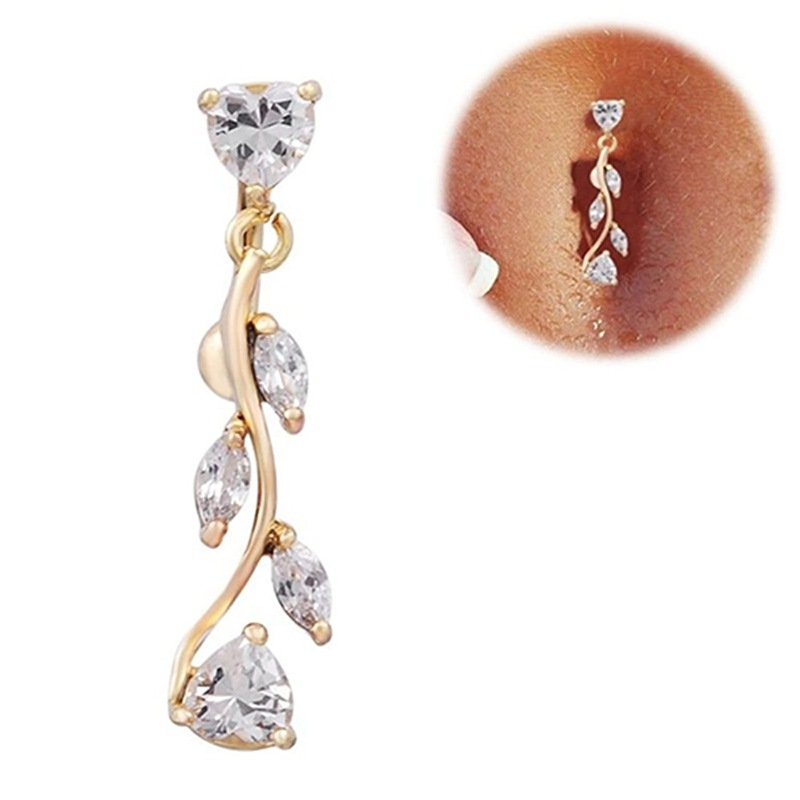 Details About Sexy Zircon Reverse Belly Button Ring Dangle Bar Navel Ring Body Piercing Jew Zc