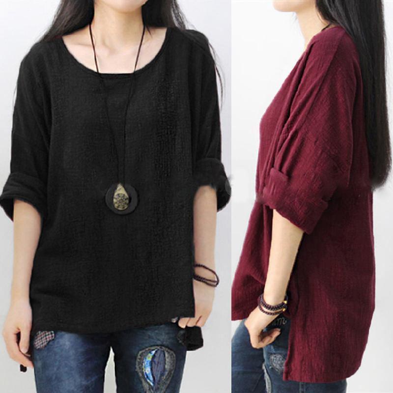 Women-Long-Sleeve-Split-Casual-Loose-Cotton-Blouse-Shirt-Tops-Plus-Size-H3F6