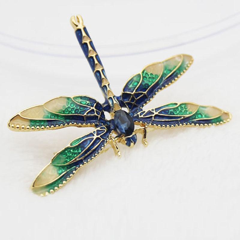 193cce011a55 Broches de libelula para mujer Broche de libelula insecto del esmalte verde  PB