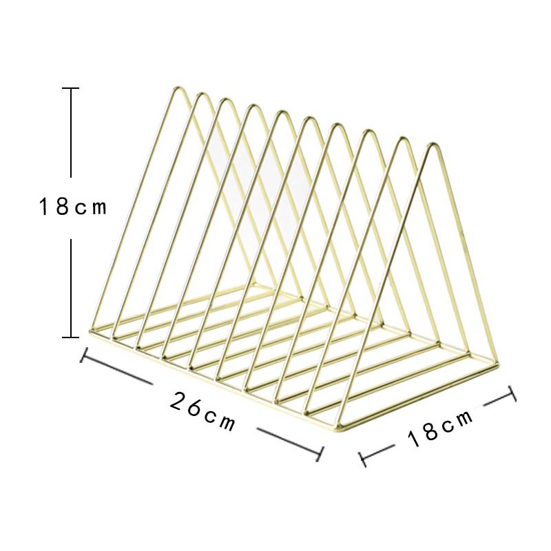 Bookshelf-iron-Geometry-Newspapers-and-Magazines-Storage-Rack-Home-Decor-S-X2W6 miniature 10