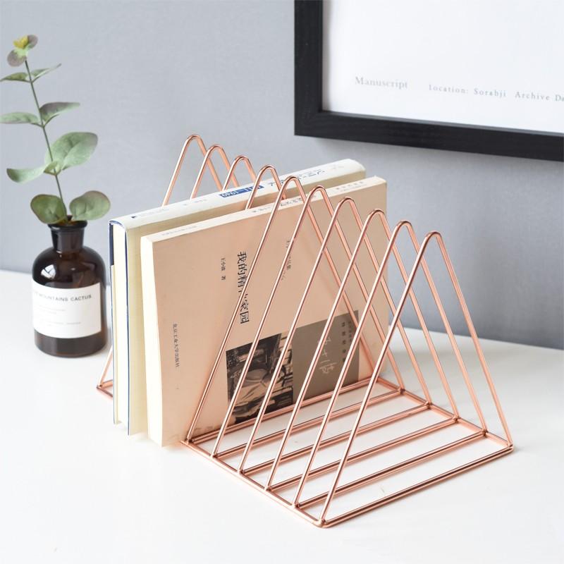 Bookshelf-iron-Geometry-Newspapers-and-Magazines-Storage-Rack-Home-Decor-S-X2W6 miniature 17
