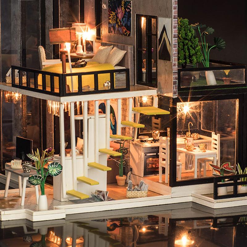 Casa de munecas diy en miniatura madera miniatura casa con for Casa mendoza muebles villa martelli