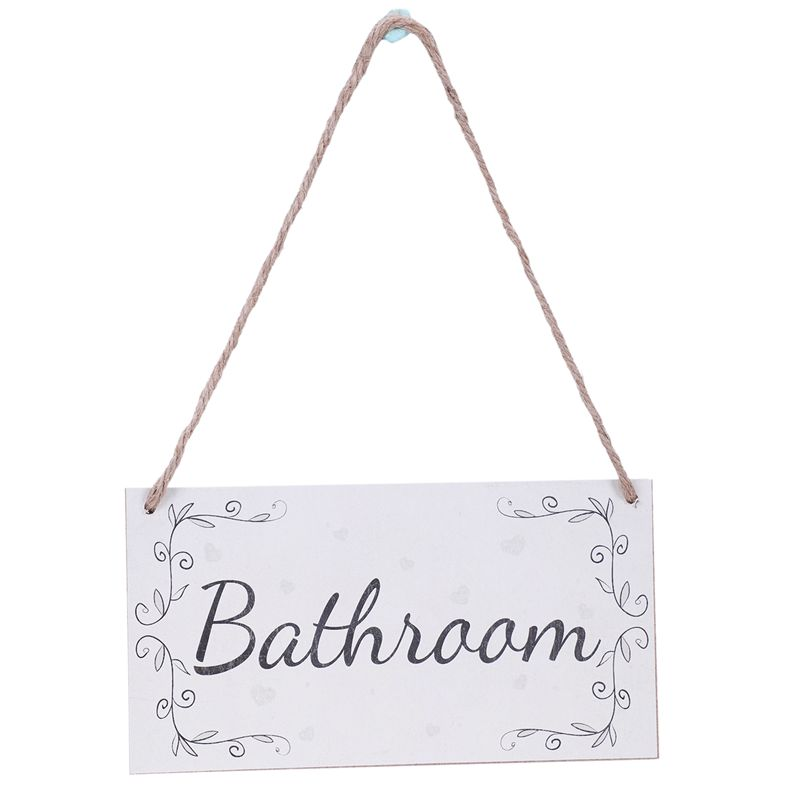 2XBathroom Handmade French Shabby Chic Style Wooden Home Decor Door Sign X2N8