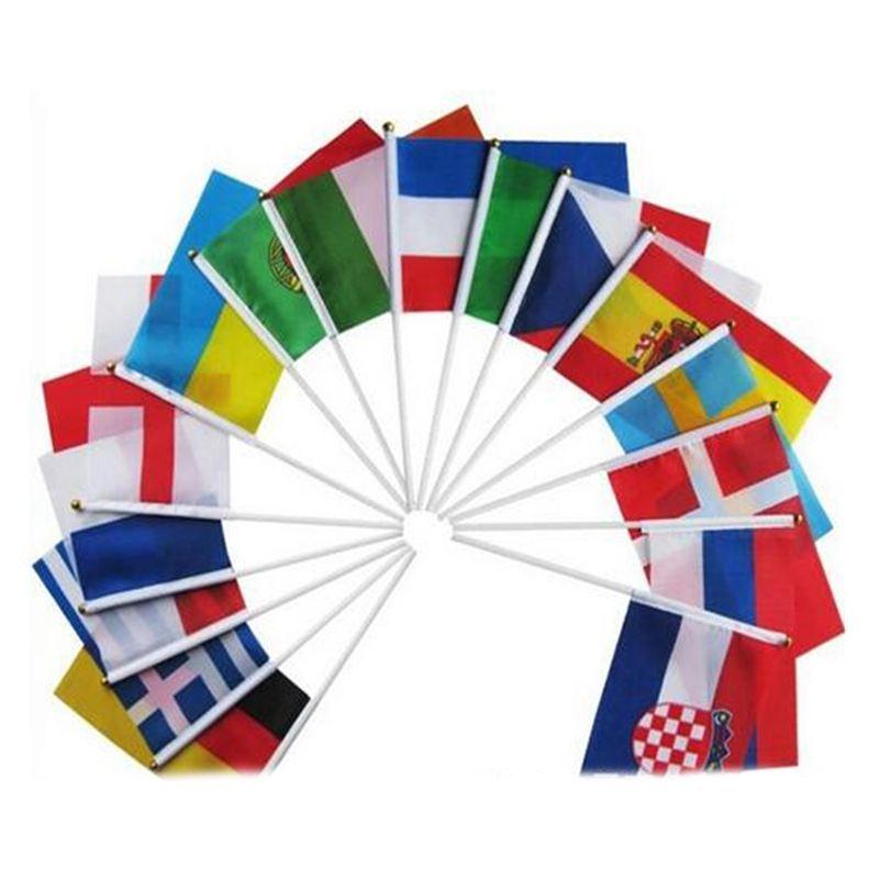 Banderas de mano del mundo campestre con postes Bandera pequena de 32 paises RA5