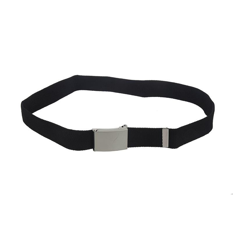 Fashion Casual Silvery Metal Buckle Canvas Waist Belt Gift Black A8O6