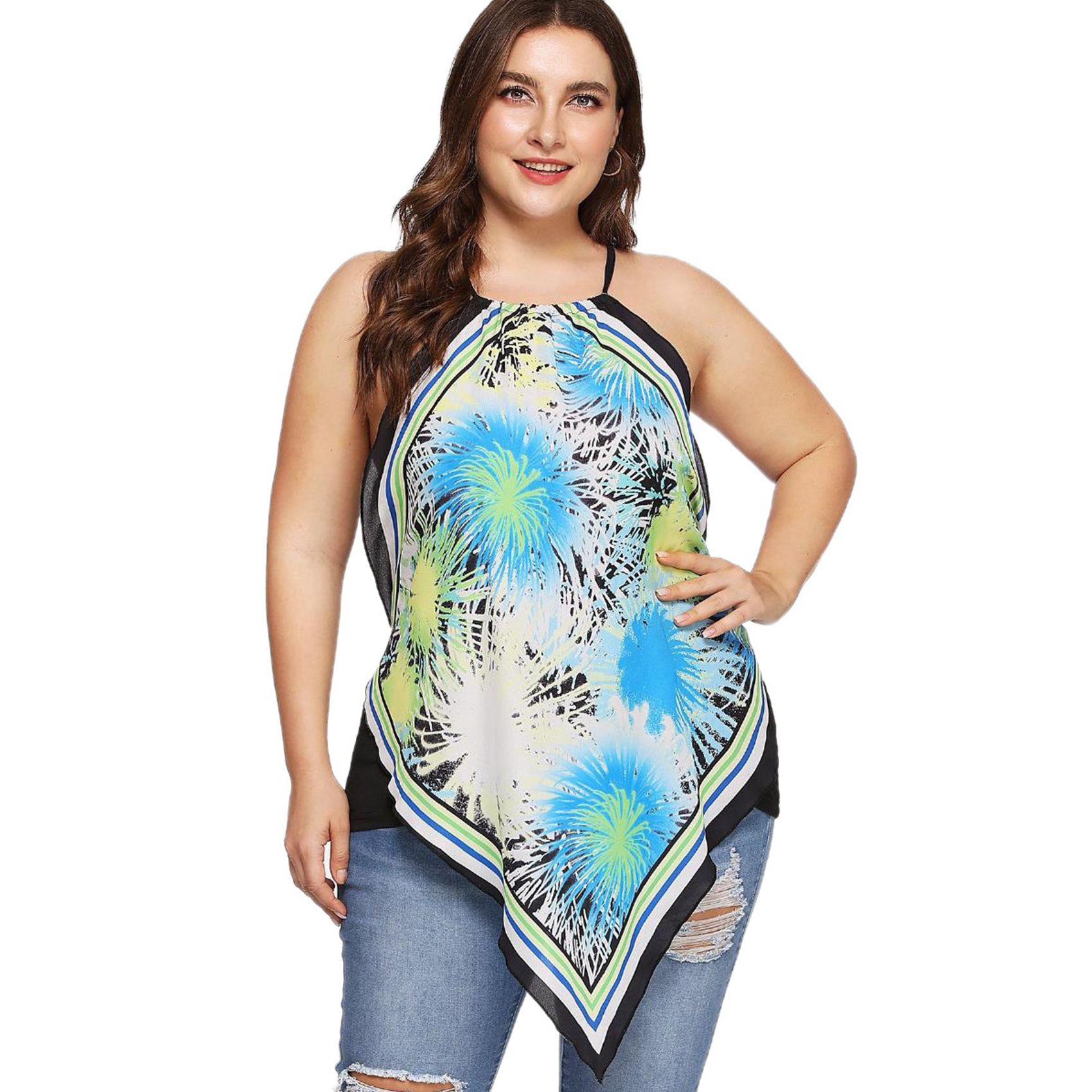Lachr5o7 5x D'ete Decontractes Femme Pour tops De T Taille Imprimes shirt Grand 1r41wPpq