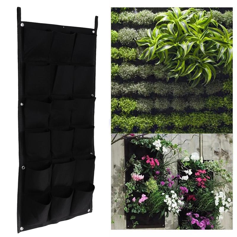 18 Taschen vertikale Garten Blumentoepfe Hanging Blumentoepfe Wand ...