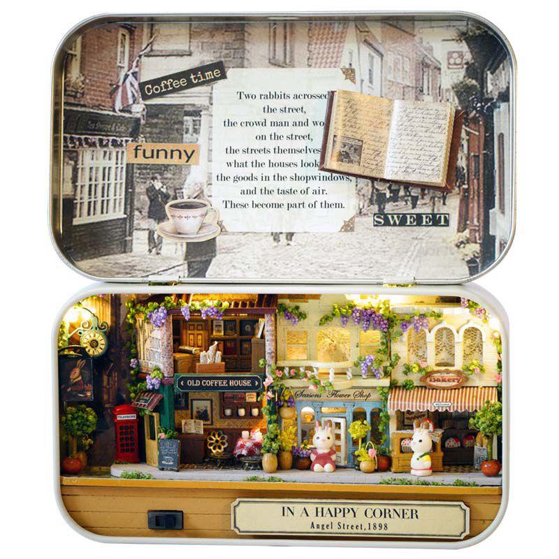 DéSintéRessé 1x(3d En Bois Diy A La Main Boite Theatre Maison De Poupee Miniature Boite Q4d4