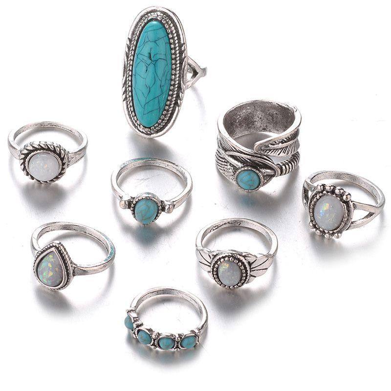 b6fc3064a643 1X(8pzs juego Juego de anillos opalo turquesa Anillo piedras preciosas  naturaB4)