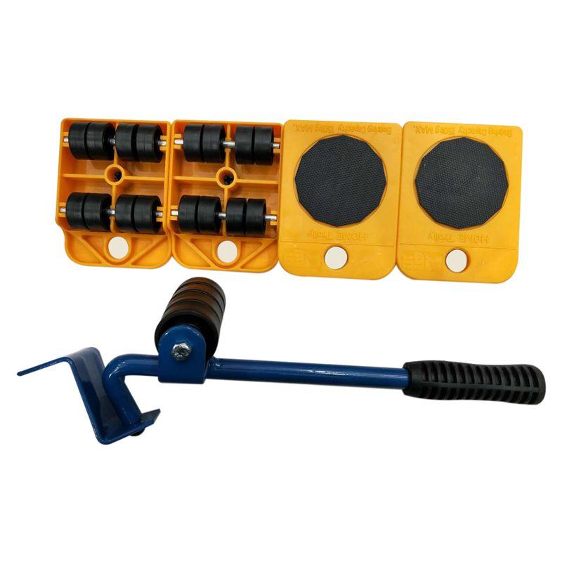 10X(5pcs Furniture Transport Tools Set 4 Wheeled Corner Mover Rollers+1 Wh U4S7)