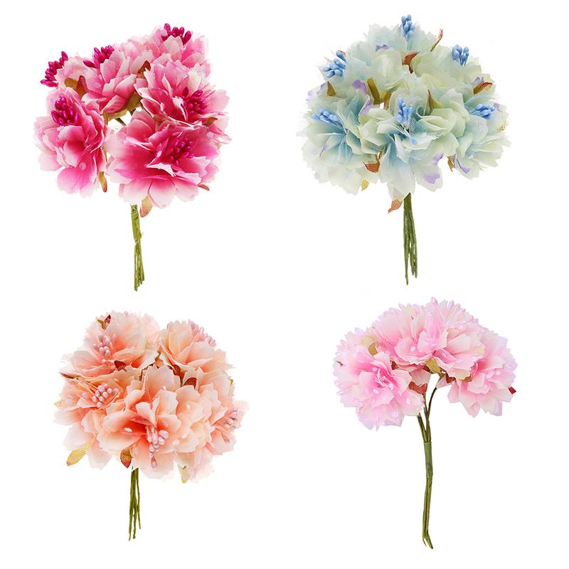6 Stk 4cm Kuenstliche Nelke Blume Staubblaetter Blumenstrauss
