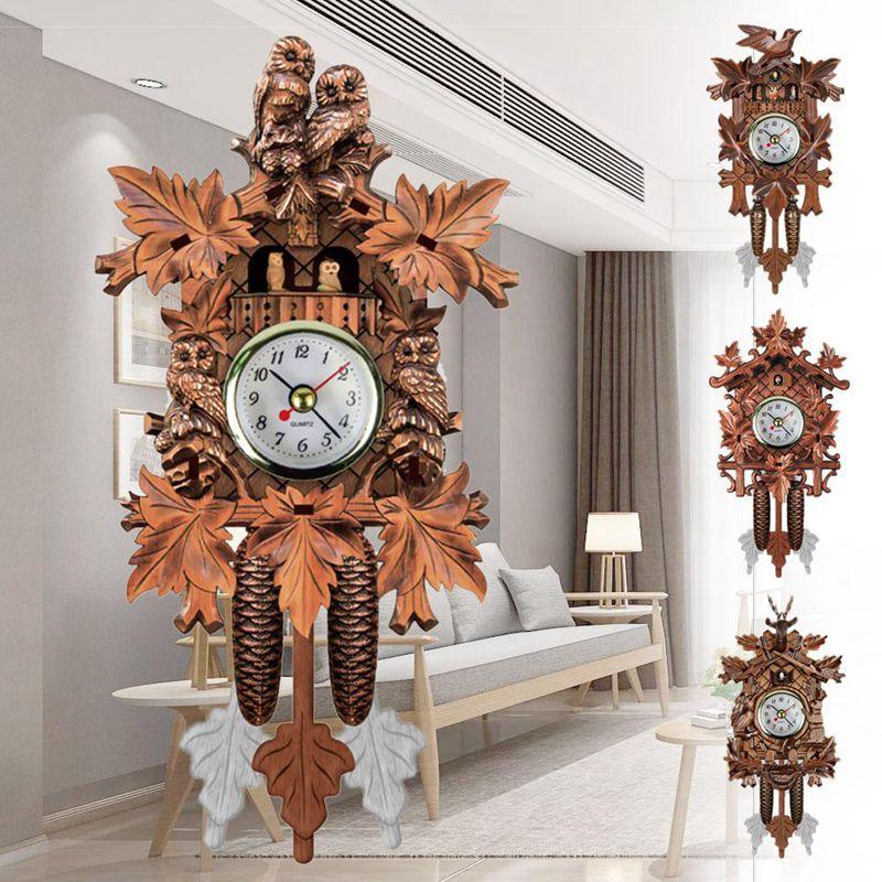 Vintage-Home-Decorative-Bird-Wall-Clock-Hanging-Wood-Cuckoo-Clock-Living-Ro-C2D6 thumbnail 9