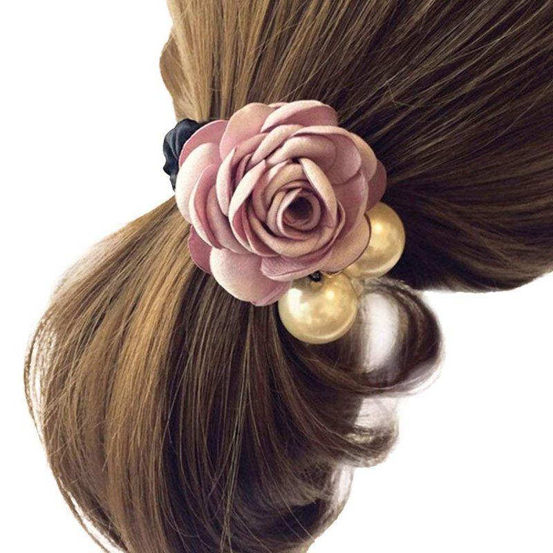 Frauen Damen Satin Band Rose Blume Perlen Haarband Pferdeschwanz Inhaber Gut