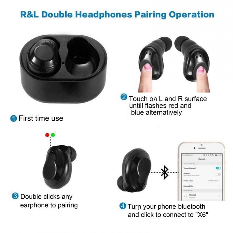 1X-X6-Bluetooth-TWS-Ecouteurs-Vrai-sans-fil-intra-auriculaires-tactiles-eco-T8J2 miniature 8