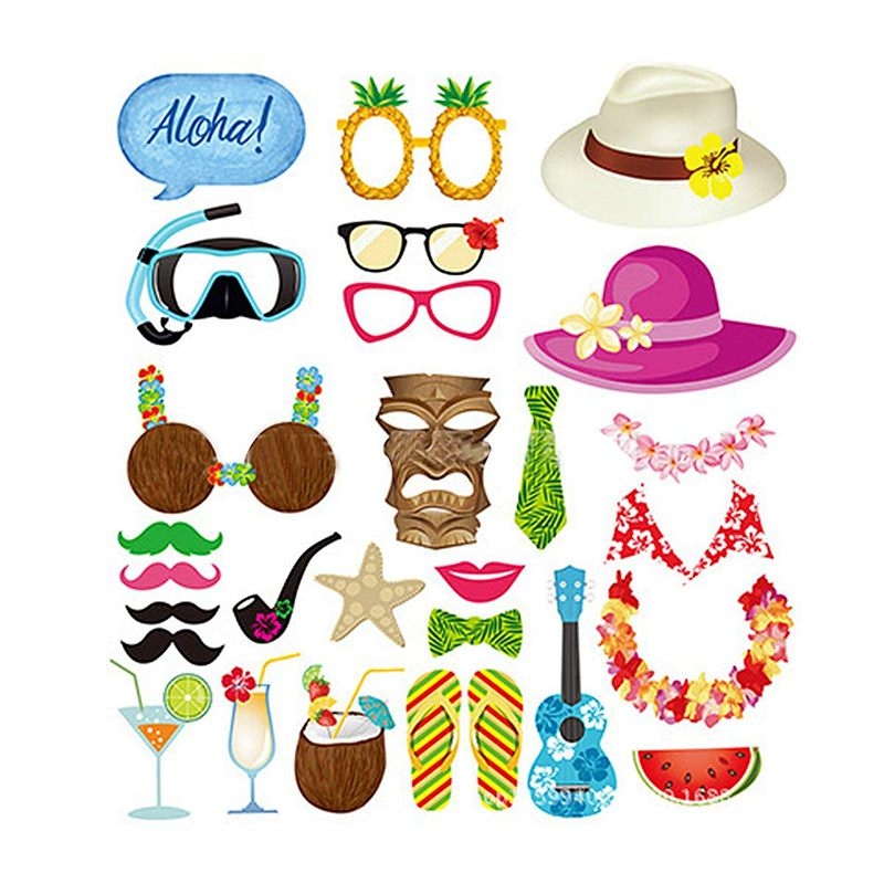 Hawaiian Photo Booth Props Luau Party Supplies Tropical Summer