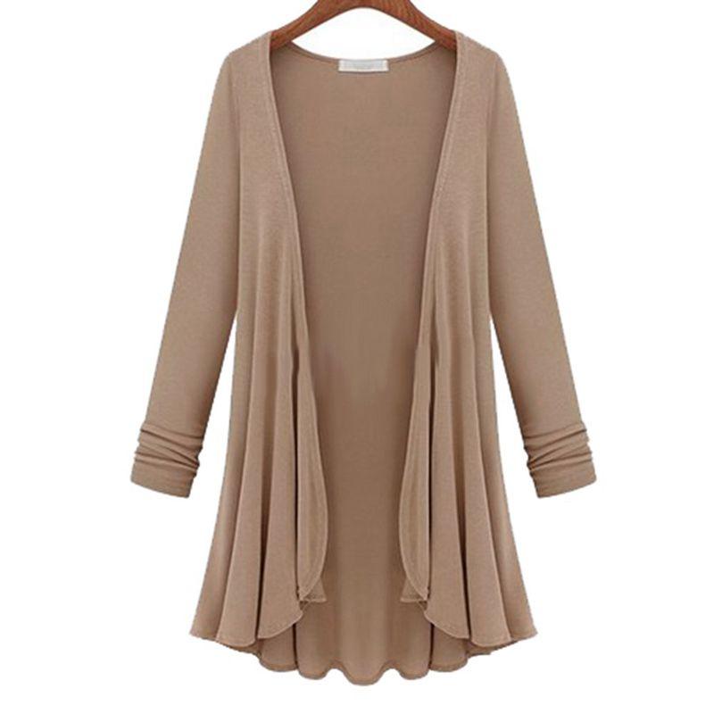 Women-Casual-Coat-Long-Sleeve-Cardigan-Sweater-Plus-Size-Top-Khaki-Z3J3