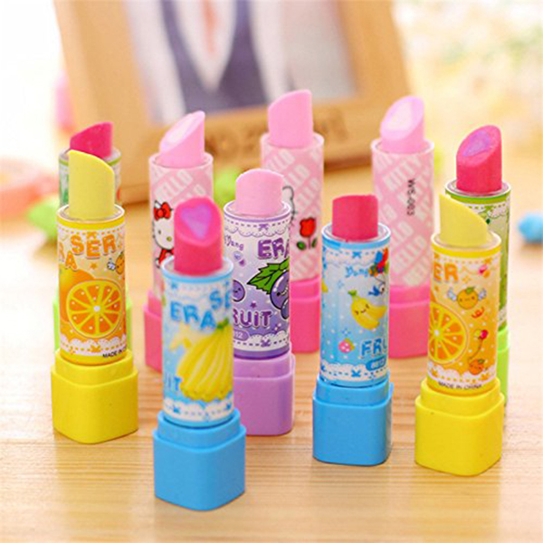 Cute-Rubbers-for-Kids-Fruit-Lip-Salve-Lipstick-Rubber-Erasers-Smooth-Appear-J6J8