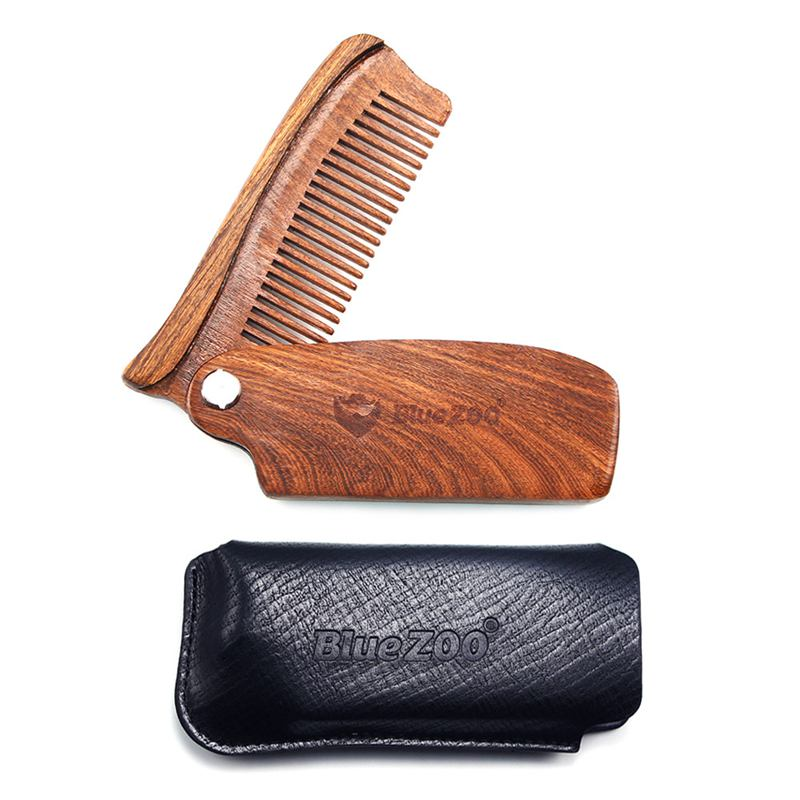 Blue Zoo Wooden Folding Beard Comb Pocket Size Moustache Hair Combs Anti-st  H3h5