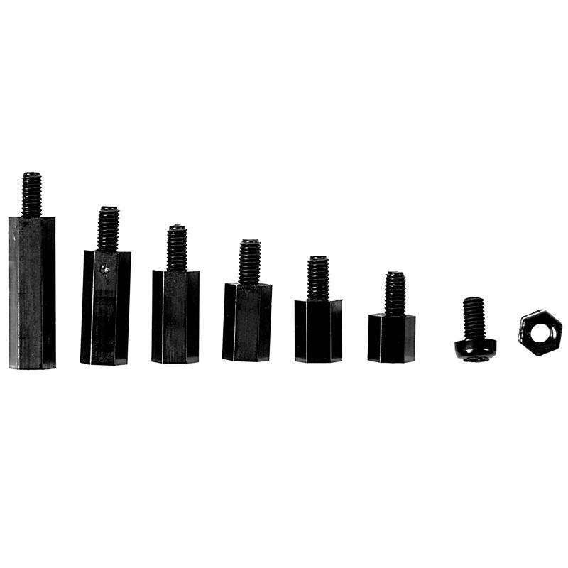 180 Teile Abstandshalter Spacer IA Schrauben Muttern M3 Nylon Kunststoff schwarz