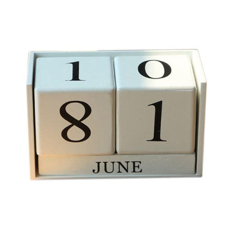Image Is Loading Vintage Wooden Perpetual Desk Calendar Block Planner Permanent