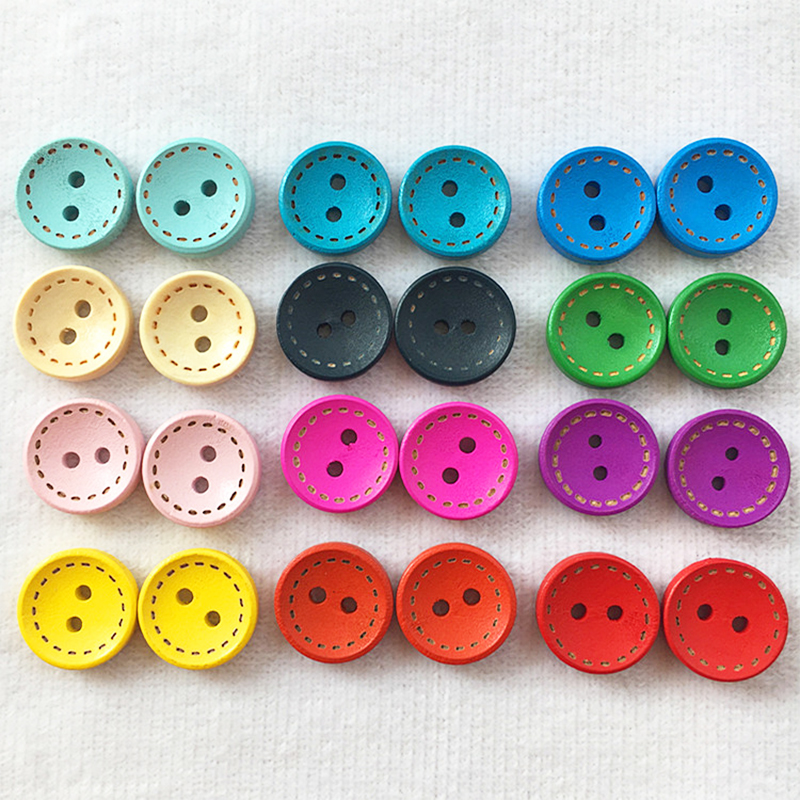 100 Pcs 15mm Couleur Alphabet Rond Boutons Mercerie Couture DIY Decoration I4Q6