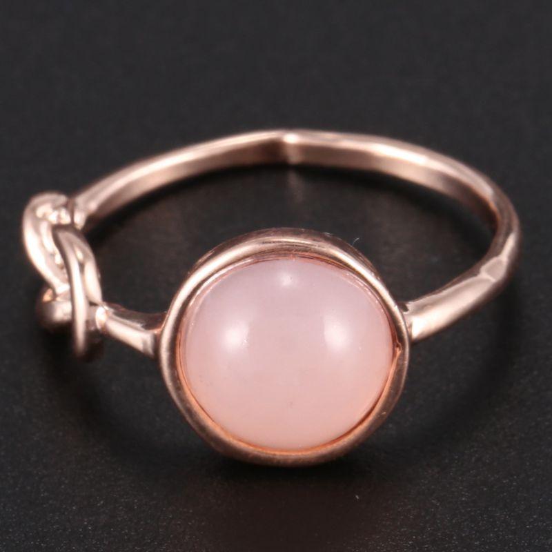 Anillo-de-diamante-de-piedra-lunar-rosada-piedra-natural-Anillo-de-oro-rosa-A7L7 miniatura 7