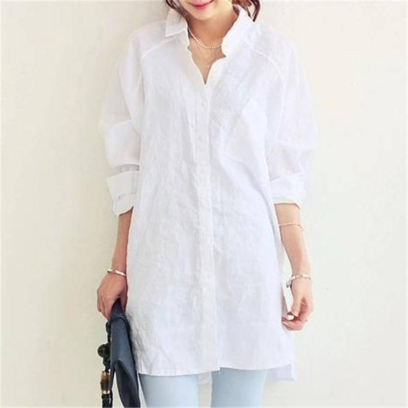 1X-Blusa-de-lino-de-algodon-suelta-informal-de-mujer-Chauqeta-camisa-de-man-X8C6 miniatura 4
