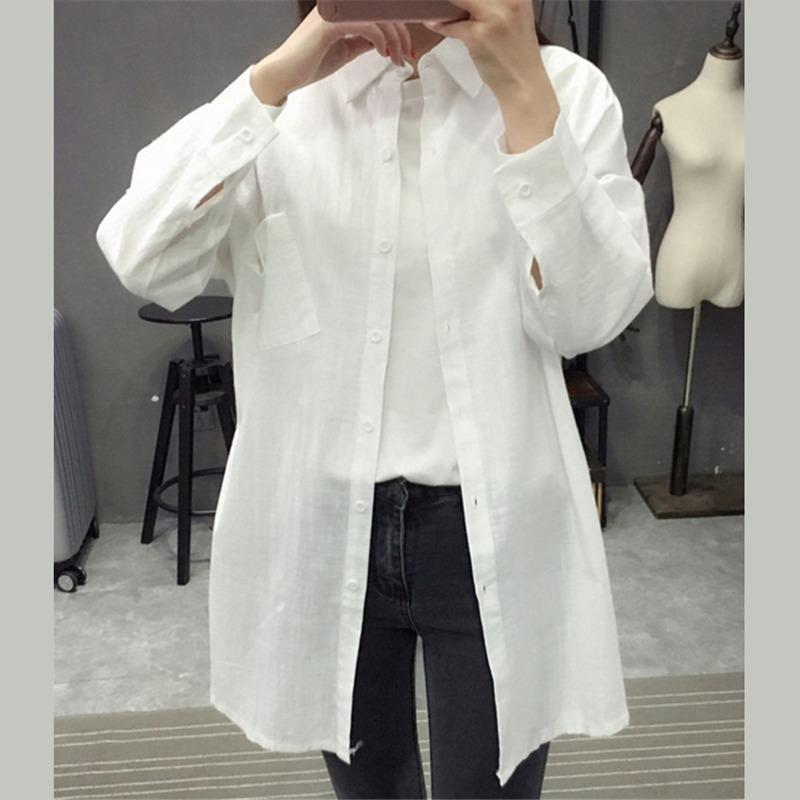 1X-Blusa-de-lino-de-algodon-suelta-informal-de-mujer-Chauqeta-camisa-de-man-X8C6 miniatura 6