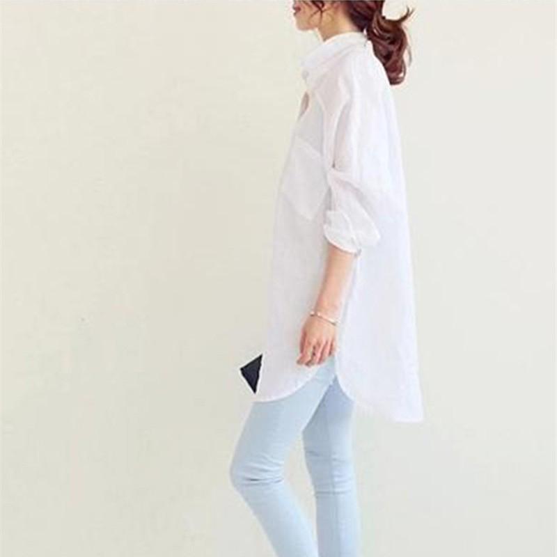 1X-Blusa-de-lino-de-algodon-suelta-informal-de-mujer-Chauqeta-camisa-de-man-X8C6 miniatura 7