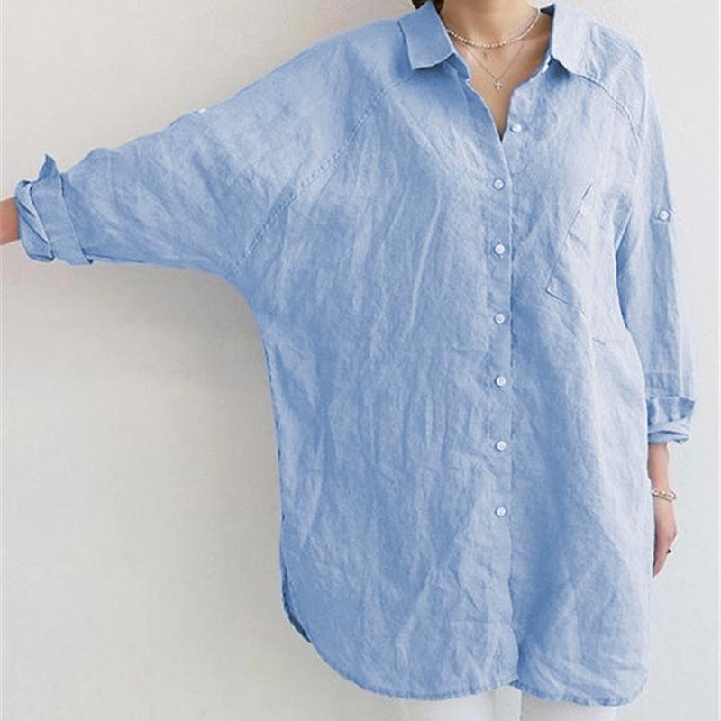 1X-Blusa-de-lino-de-algodon-suelta-informal-de-mujer-Chauqeta-camisa-de-man-X8C6 miniatura 10