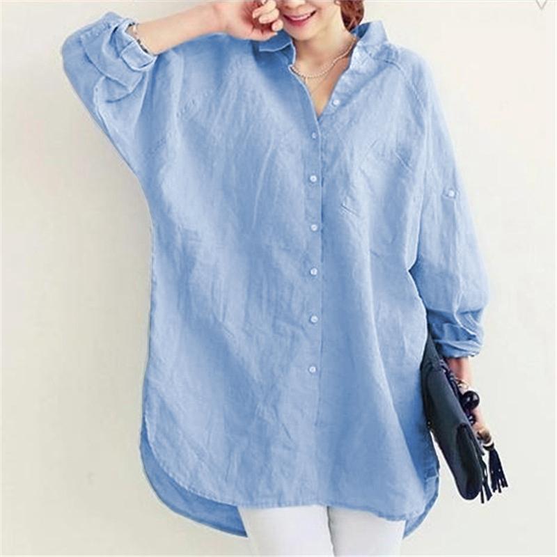 1X-Blusa-de-lino-de-algodon-suelta-informal-de-mujer-Chauqeta-camisa-de-man-X8C6 miniatura 11