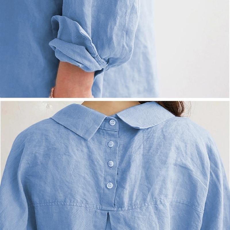 1X-Blusa-de-lino-de-algodon-suelta-informal-de-mujer-Chauqeta-camisa-de-man-X8C6 miniatura 12